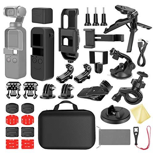 Neewer 33-en-1 Expansion Kit Compatible avec DJI OSMO Pocket Caméra Action Monture, Kit Accessoires avec Etui de Transport/Porte-Smartphone/Base de Charge/Trépied/Ventouse/Support de Vélo etc.