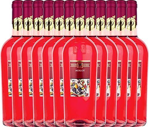 VINELLO 12er Weinpaket Roséwein - Merlot Rosato 2020 - Tenuta Ulisse mit Weinausgießer | trocken Roséwein | italienischer Sommerwein aus Abruzzen | 12 x 0,75 Liter