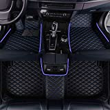 Muchkey Personalized Custom Glowing Car Floor Mat for All Car Models Hatchback SUV Sedan Truck Van Waterproof Non-Slip Led Decorative Leather Carpets Black-Blue