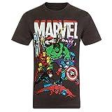 Marvel Comics - Camiseta oficial para niño - Con personajes de los cómics Hulk, Iron Man, Thor - Gris marengo personajes - 7-8 años