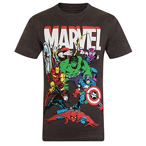 Marvel Comics - Jungen T-Shirt mit Charakteren wie Hulk, Iron Man & Thor - Offizielles Merchandise - Geschenk - Dunkelgrau mit Figuren - 5-6Jahre