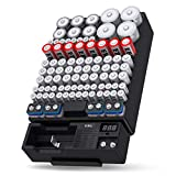 EBL Wall Mount Battery Storage Organizer With Tester, Various Sizes Battery Containers Holder Case for AA AAA C D 18650 9V, Button Battery (Not Includes Batteries)