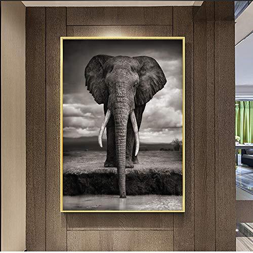 Nordic Creative Elephant Wandmalereien Drucken auf Leinwand Kunstdrucke Tiere Wandbilder für Wohnzimmer 50x70cm