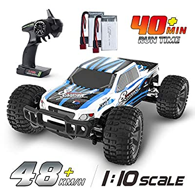 DEERC RC Cars 1:10 Scale Large High Speed Remote Control Car for Adults Kids, 48 kmh 4WD 2.4GHz Off Road Monster Truck Toys, All Terrain Electric Vehicle Boy Gifts with 2 Batteries for 40 Min Play