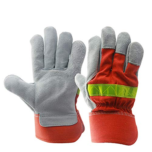 FLJUN Leather Work Gloves Safety Gloves for Men And Women Work for Truck Driving, Construction, Welding, Gardening