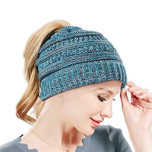 SWEDREAM Sombrero Invierno Gorros de Punto Gorras para Mujeres Crochet Cálido Suave Sombreros de Esqui (Azul)