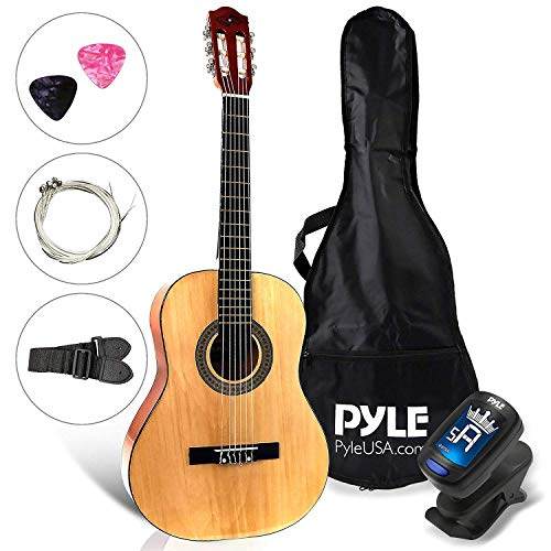 "Beginner 30"" Classical Acoustic Guitar - 1/4 Junior Size 6 String Linden Wood Guitar w/ Gig Bag, Tuner, Nylon Strings, Picks, Strap, For Beginners, Adults - Pyle PGACLS30"