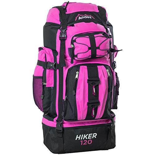 Andes Hiker 120 - Wander-/Camping-Rucksack - extragroß - 120 l Fassungsvermögen - Pink