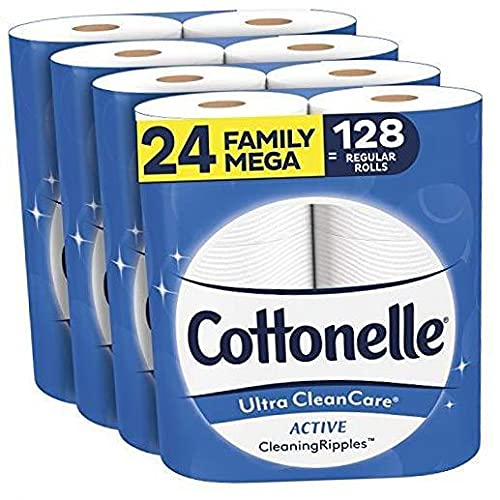 Ultra CleanCare Soft Toilet Paper with Active Cleaning Ripples, 24 Family Mega Rolls, Strong Bath Tissue (24 Family Mega Rolls = 128 Regular Rolls) .24 Count (Pack of 1)