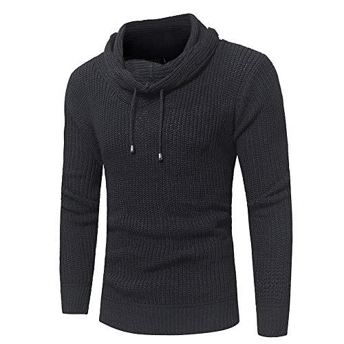 Bahoto Neue Herrenmode einfarbig Hut Seil Haufen Haufen Kragen Herren Pullover schlanke Pullover Pullover