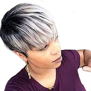 TopWigy Short Human Hair Wigs for Black Women Layered Pixie Cut Mixed Human Hair Bob Wigs 8 Inches Ombre Silver - coolthings.us