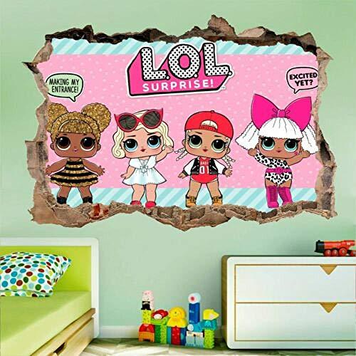 BAOWANG Wandtattoo LOL Puppe Überraschung 3d zerschlagen Wandtattoo Wandaufkleber Wand gebrochen