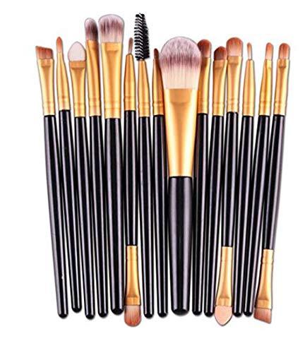 WeiMay 15* Brosse à ombre Définir Yeux Pinceau de maquillage Lèvres Brosse de fonction Barre multicolore Bonne qualité Outils de maquillage (Black Rod + Tube d'or)