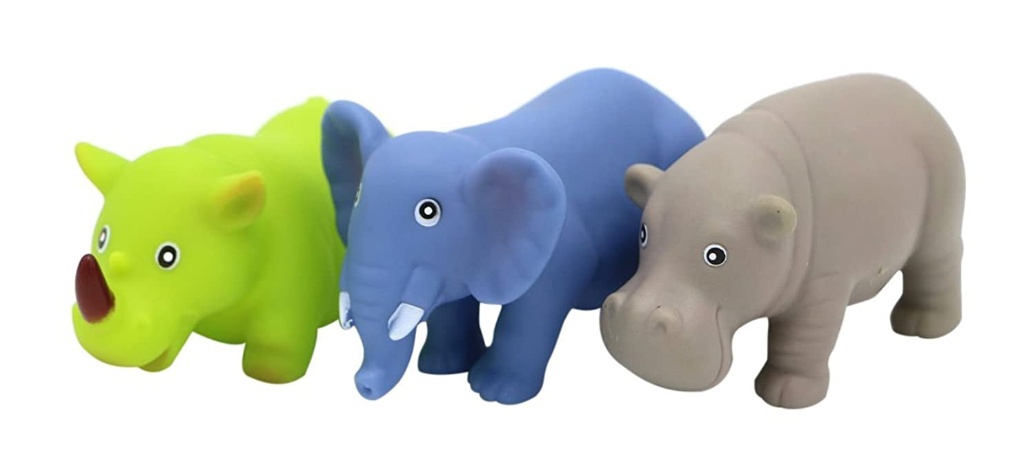 Baby Bathtub Toys for babies 19 months + this set consists of 3 squirting bath toys cute animal models of an elephant rhinoceros and hippopotamus [並行輸入品]