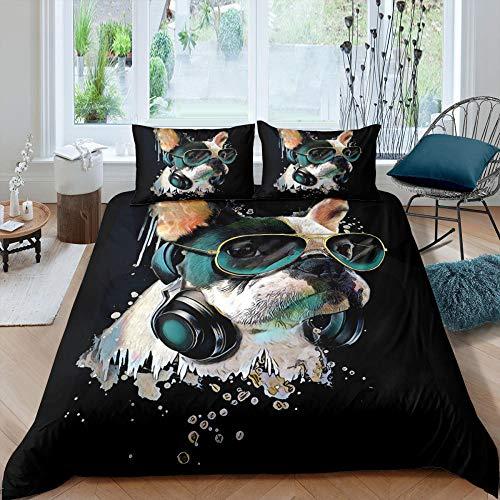 dsgsd Funda de edredón Matrimonio Microfibra Negro perro gafas de sol Cama individual: 150x220cm Juego de ropa de cama de 3 piezas, funda nórdica, funda de almohada, juego de sábanas para parejas, ama