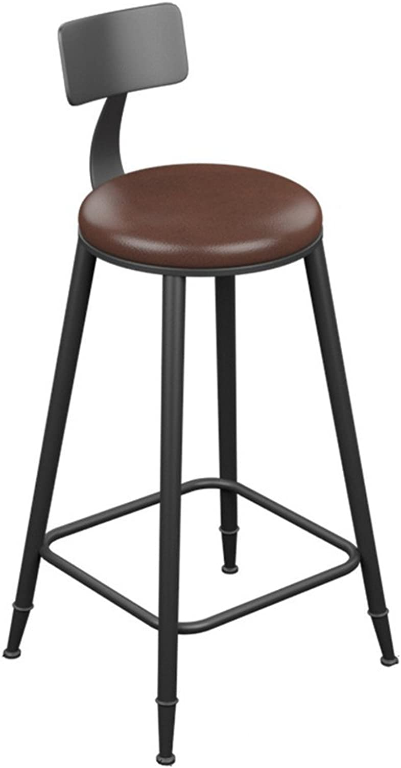 TLMY Wrought Iron Solid Wood Bar Chair bar Stool high Chair Chair (color   B, Size   68CM)