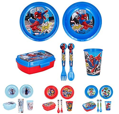 Vajilla infantil de 6 piezas de Spiderman para niños y niñas. Contiene plato, vaso, tenedor, cuchillo, cuenco y sandwichera (Spiderman - 6pcs)