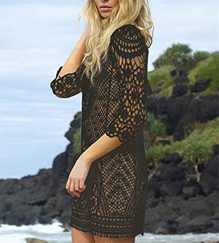 Kfnire Traje de baño de Las Mujeres Bikini Traje de baño Vestido de Playa Crochet (D-Negro)