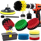 Drill Brush and Scrub Pads, GOH DODD 15 Pieces Power Scrubber Variety Cleaning Kit with Long Reach Attachment in Box for Bathroom Shower Scrubbing, Carpet Cleaning, Grout Scrubbing, and Tile Cleaning