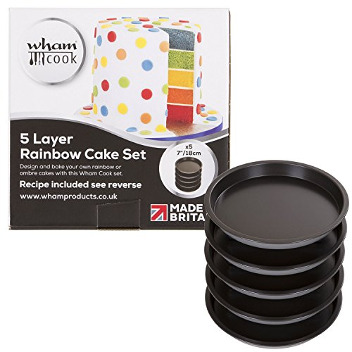 Wham Teflon 5 Fach Regenbogen Kuchen Set, Stahl, Graphit, 18 x 18 x 12,5 cm