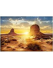 HEEPDD Cartel del Acuario, Sol y Estilo del Desierto Terrario del Tanque de Peces Póster de Fondo Espesar PVC Adhesivo estático Pegatina de Papel Tapiz (91 * 41cm)
