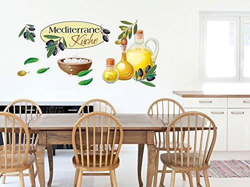 GRAZDesign Wandtattoo Küche Mediterran Oliven, Küchentattoo Aufkleber Set / 150x57cm