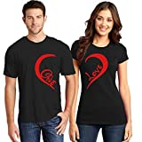 ADIMA Couple Tshirts ONE-Love Printed Matching Tees Valentine Gift for Couples/Lovers/Men Women Black