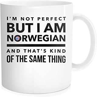 Hasdon-Hill Norwegian Cup, I'm Not Perfect But I'm Norwegian And That's Kind Of The Same Thing Coffee Mug, Norway Flag, Funny Gift For Best Friend Tea, 11 OZ White