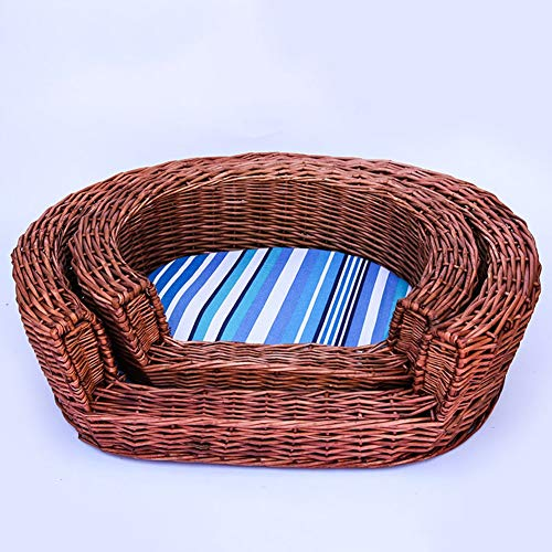 CHL Pet Bed wicker kennel fashion simple with cushion Cat litter pet daily necessities wicker Cat kennel Bed-10.20 (Size : Large)