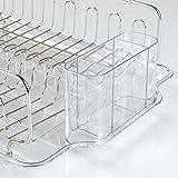 mDesign Metall-Geschirrabtropfer – Plastik-Abtropfablage für Spüle – tolles Abtropfgestell mit Abtropfschale – bis zu 15 Teller + Besteck – 33,8 cm x 44,5 cm x 13,2 cm - 2