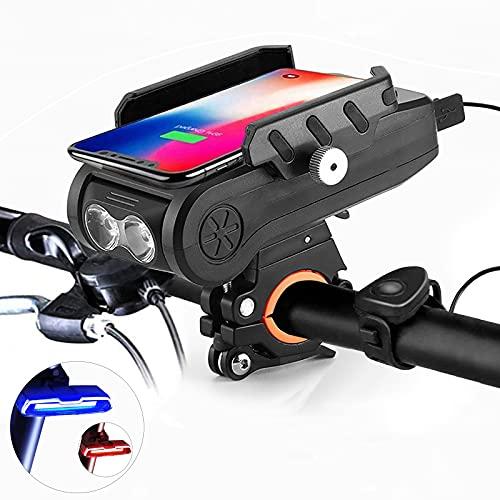 5 in 1 Fahrradlicht Mit Wasserdichter Fahrradlicht Led,Fahrrad Handyhalterung,Fahrradklingel,Powerbank Und Fahrradrücklicht,40/60/80/100/130DB Und DREI Beleuchtungsmodi,Schwarz,6500mAh+taillight