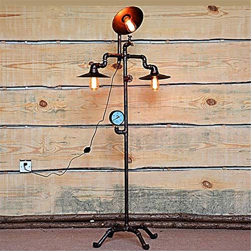 CLJ-LJ Lámpara de pie Industrial Retro Steampunk creativo manómetro y grifo Diseño E27 3 Jefes hacer el viejo de cobre antigua de hierro forjado del tubo de agua de pie Lámpara de 1,58 M con el interr