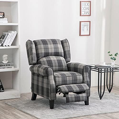 Kosoree Living Room Chairs Sofa Bed Grey Sofa Upholstered Tartan Checked Recliner Wingback Armchair Fireside Sofa Chair Grey