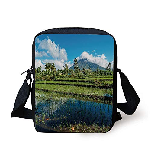 FAFANIQ Volcano,Idyllic View of Mayon Volcano Mountain in Philippines Tropical Landscape Decorative,Blue Green White Print Kids Crossbody Messenger Bag Purse