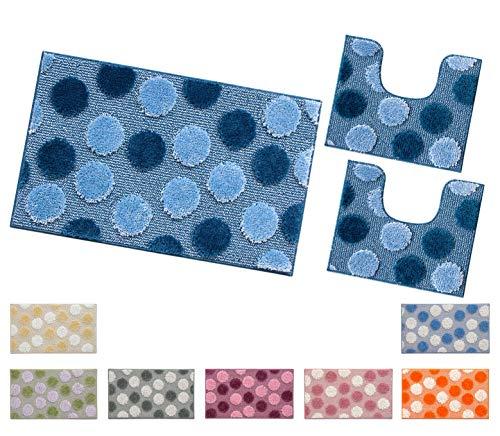 ARREDIAMOINSIEME-nelweb Tappeto Bagno Morbido Parure Set 3 Pezzi Fondo Antiscivolo Moderno Shaggy Bordato 100% Made in Italy MOD.iOS PARURE Blu