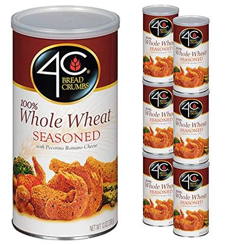 4C Premium Bread Crumbs | Regular & Gluten Free | Flavorful Crispy Crunchy | Value Pack (Whole Wheat Seasoned, 6pk)