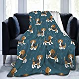 Cute Cartoon Dog Puppies Beagle Dog Blanket Super Soft Light Weight Cozy Warm Fluffy Plush 40 x 50 inch Blanket for Bed Couch Living Room