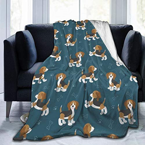 Blanket Cute Cartoon Dog Puppies Beagle Dog Super Soft Light Weight Cozy Warm Fluffy Plush Blanket for Bed Couch Living Room