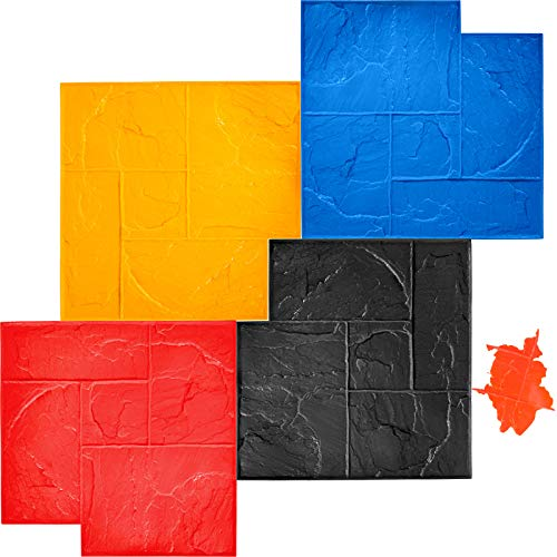 "VEVOR Concrete Texturing Skin, 24""x24"" Concrete Stamps Mats Set, Polyurethane Concrete Stamping Mats, Slate Concrete Stamps, 4 PCS Realistic Concrete Texture Mat, Concrete Stamps for Walls/Floors"
