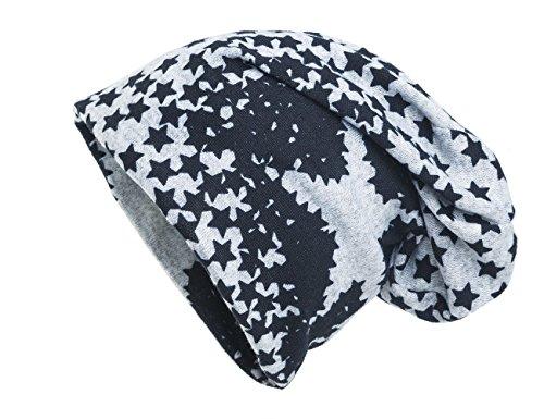 Shenky - Long Bonnet Tombant - Jersey - Gris avec étoiles