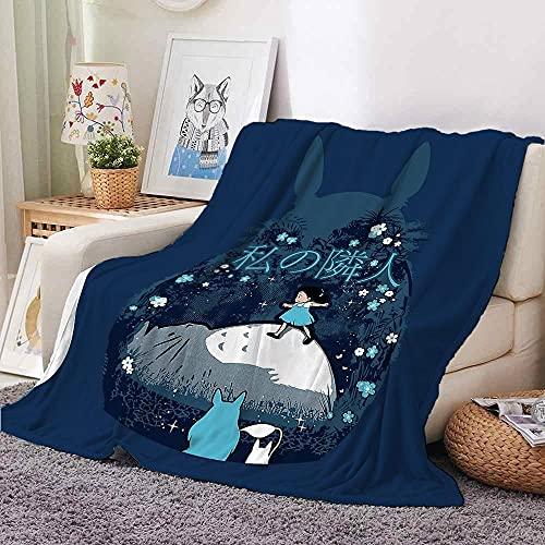 Anime Totoro My Neighbor Cat Blanket Mat Bedspread Bed Cover Soft Fleece Blanket Air Sofa Bedding Cartoon(80×60Inch)