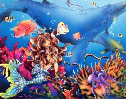 Mermaid & Whale Sci Fi Fantasy Underwater Coral Reef Ocean Wall Decor Art Print Poster (16x20)