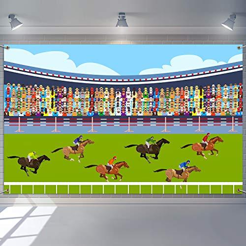 6.1 x 3.6 Pies Decoración Telón de Fondo de Estadio de Cubierta Hipódromo de Césped Carreras de Caballos para Suministros de Fotografía Fiesta Baby Shower Cumpleaños de Tema de Carreras de Caballos
