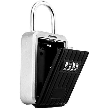 Boîte à clés Rangement pour Mot de Passe en métal à 4 Chiffres Porte-Cadenas Porte Anti-vol Suspendue Serrure à Combinaison Organisateur pour la sécurité à l'intérieur, à l'extérieur