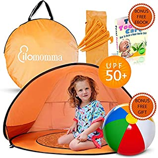 ilomomma Beach Tent for Baby with UV Protection UPF 50+, Baby Pool with Canopy, Portable Carry Bag and Bonus Inflatable Beach Ball | Toddler Beach Tent, and Baby Beach Tent Pop Up