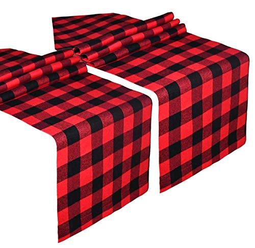 2 Pack Buffalo Check Table Runner Cotton Plaid rosso e nero Design elegante classico per la cena in famiglia Festa di compleanno Festa di compleanno Decorazione della casa (rosso e nero, 14 x 108 pol