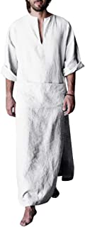 Mens Ankle Length Henley Robes Roll-up Sleeve Casual Plain Ultra Long Gown with Pocket