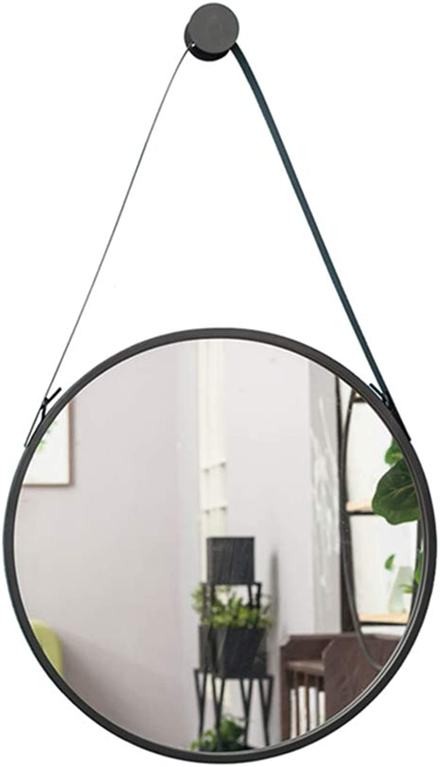 Wall Hanging Mirror Round Diameter 30 40 50 60 70cm for Bathroom Living Room Bedroom Glass Makeup Mirror Black Metal Frame with Hanging Fixings