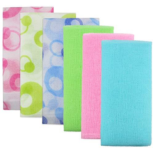 Meetory 6 toallas exfoliantes de baño, 90 cm, toalla de baño de belleza para mujeres y hombres