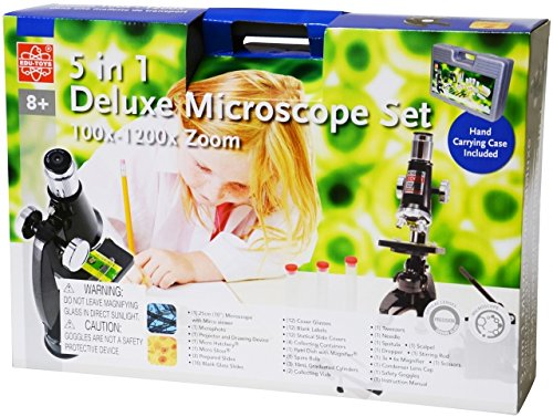 Elenco EDU-23703, Discovery Planet Tree of Knowledge 5-in-1 100x-1200x Deluxe Microscope Kit, 4 Kits